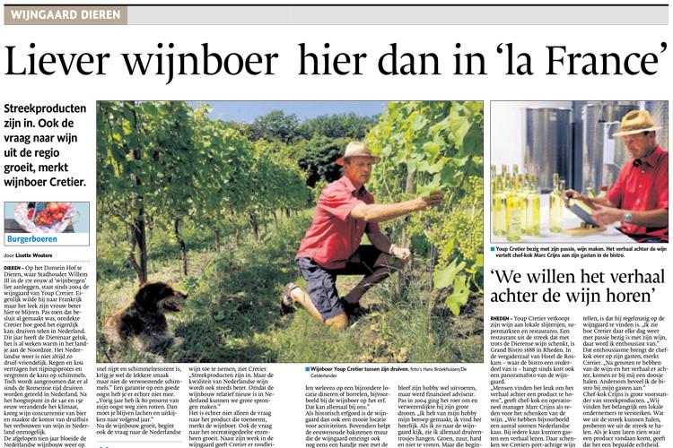 Youp Cretier heeft zijn eigen wijngaard in Dieren